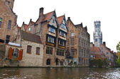 Classic view of channels of Bruges — Stock Photo