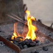 Embers, fire, smoke and blacksmith tools — Foto de Stock