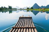 Bamboo rafting in Li River — Stock Photo