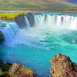 River and Wide waterfall in Iceland — Stock Photo