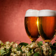 Two glasses of beer with hop — Stock Photo #6931163