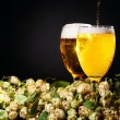 Two glasses of beer flowing with hop — Foto Stock