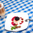 Panna cotta and coffee — Stock Photo