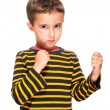 Little bully boy with black eye in fighting stance - Stock Photo