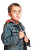 Portrait of little boy with black eye — Stock Photo