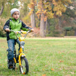 Little boy riding bike outdoors on the meadow - Stock Photo