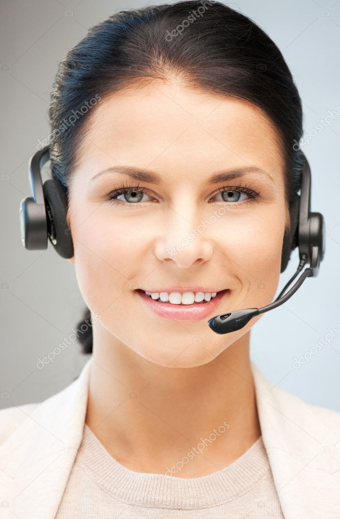 Bright picture of friendly female helpline operator — Stock Photo #6764626