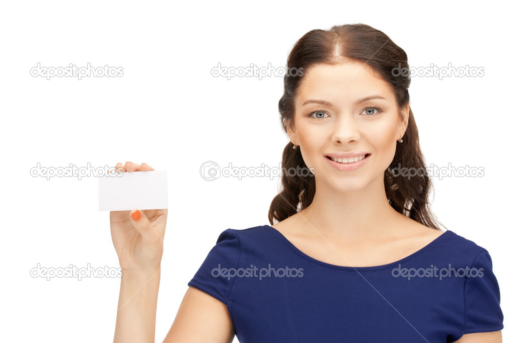 Bright picture of confident woman with business card — Stock Photo #6841909