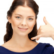 Woman making a call me gesture — Stock Photo