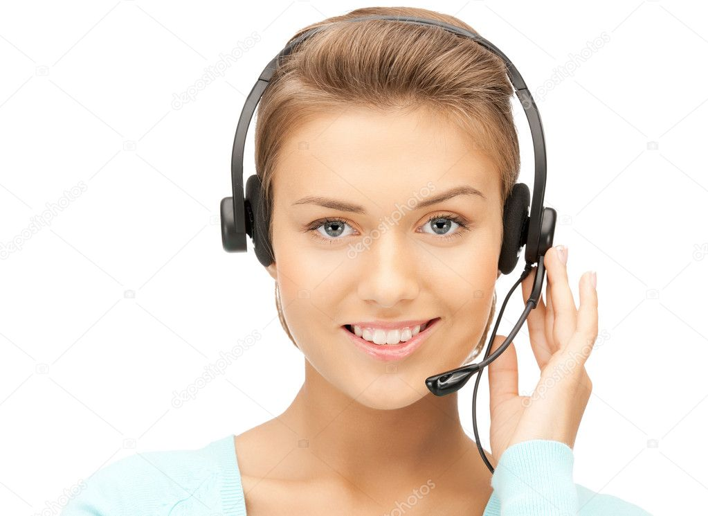 Bright picture of friendly female helpline operator — Stock Photo #6880909