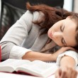 Sleeping woman with book — Stock Photo #6904271