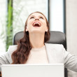 Happy woman with laptop computer — Stock Photo #6904314