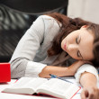 Sleeping woman with book — Stock Photo