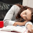 Stock Photo: Sleeping woman with book