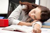 Sleeping woman with book — Stock Photo