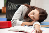 Sleeping woman with book — Foto de Stock