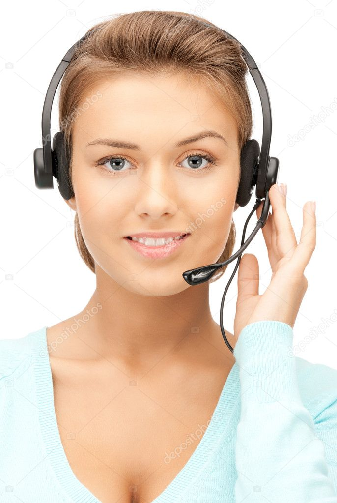Bright picture of friendly female helpline operator — Stock Photo #6909974