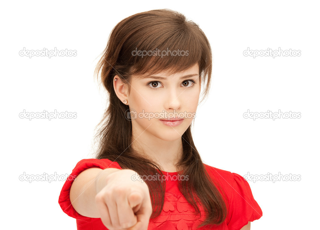 Picture of teenage girl pointing her finger — Stock Photo #6990165