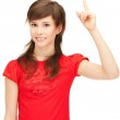 Teenage girl with her finger up — Stock Photo #7091931