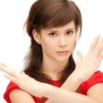 gesto di fermata facendo ragazza adolescente — Foto Stock