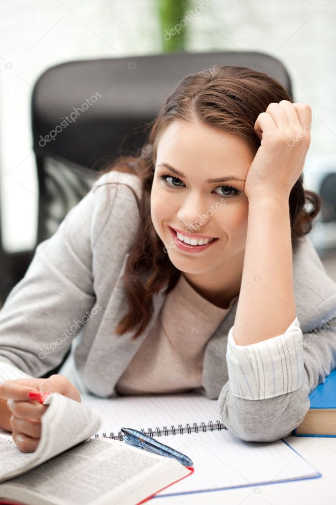 Bright picture of happy woman with book — Stock Photo #7105892