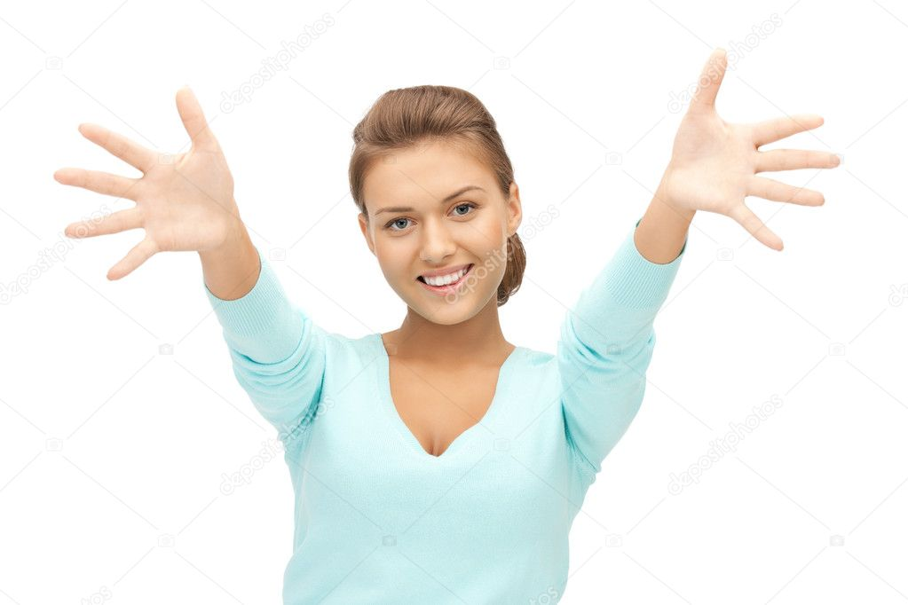 Bright picture of happy woman showing her palms — Stock Photo #7165790
