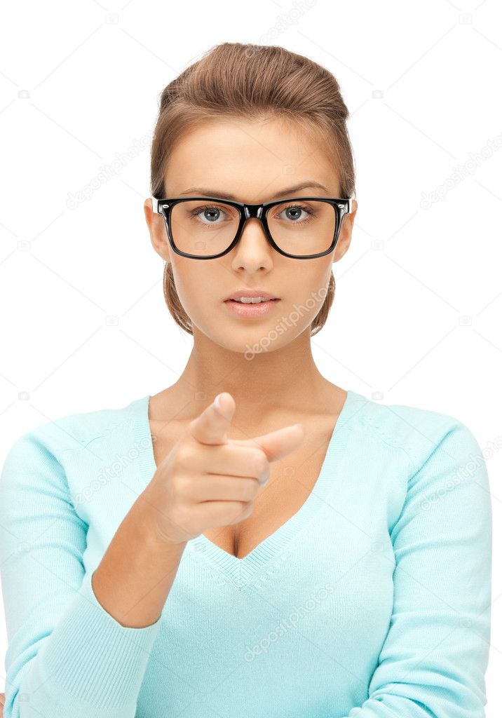 Picture of attractive businesswoman pointing her finger — Stock Photo #7235700