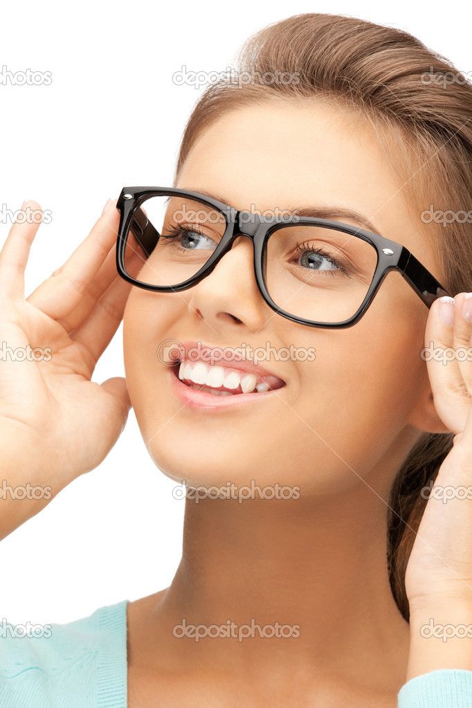 Closeup picture of lovely woman in spectacles  Stock Photo #7235715