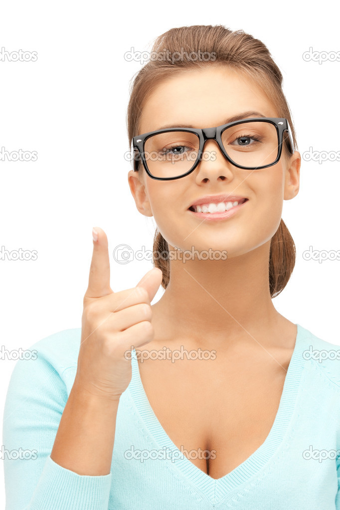 Picture of attractive young woman with her finger up — Stock Photo #7253217