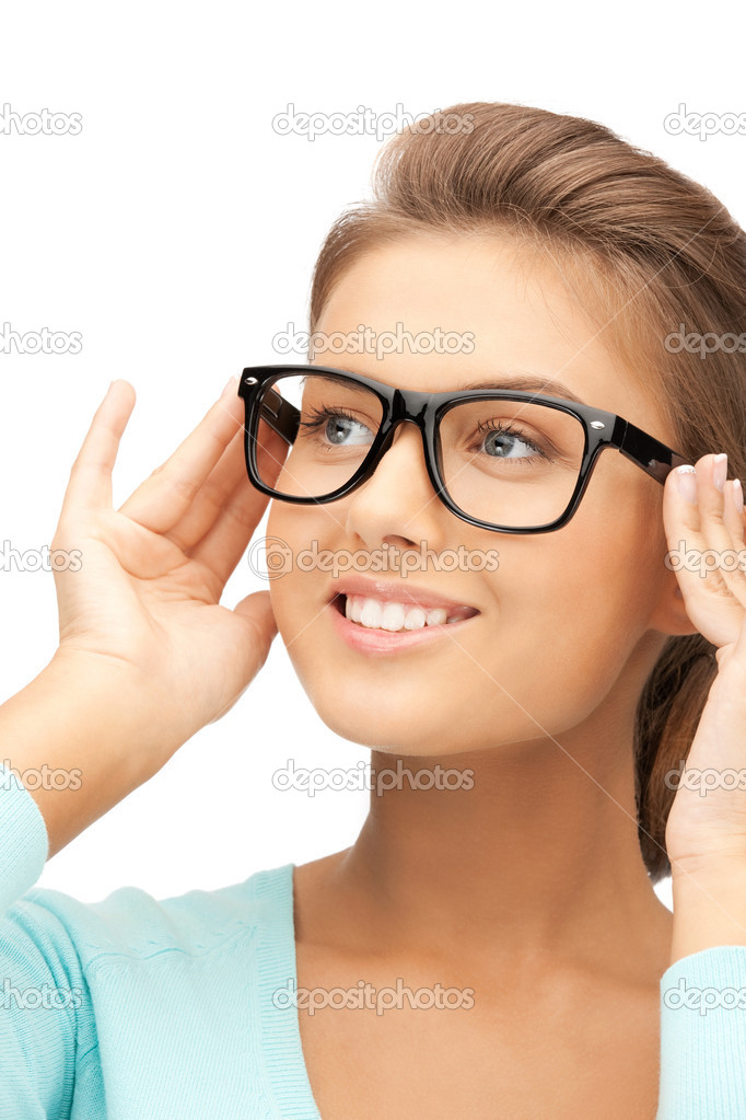 Closeup picture of lovely woman in spectacles  Stock Photo #7253226