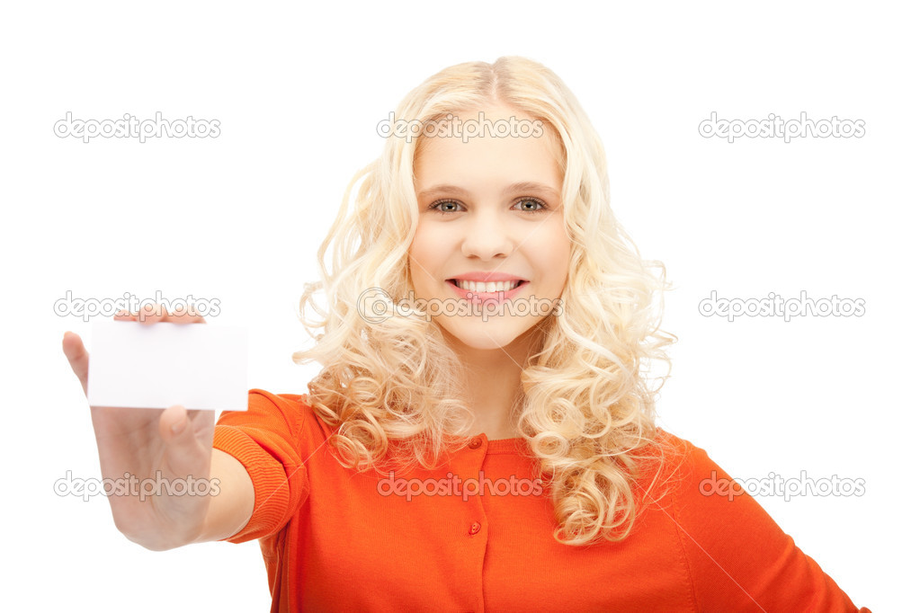 Bright picture of confident woman with business card — Stock Photo #7253317