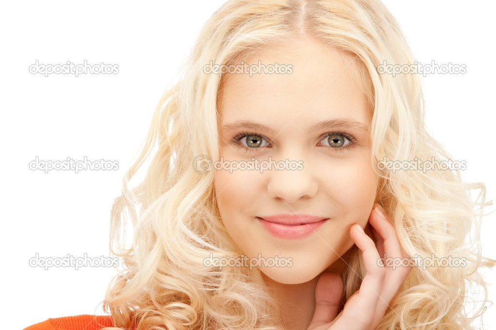 Bright closeup picture of beautiful pensive woman  Stock Photo #7253322