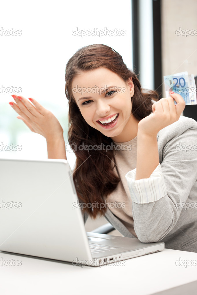 Picture of happy woman with laptop computer and euro cash money — Stockfoto #7267553