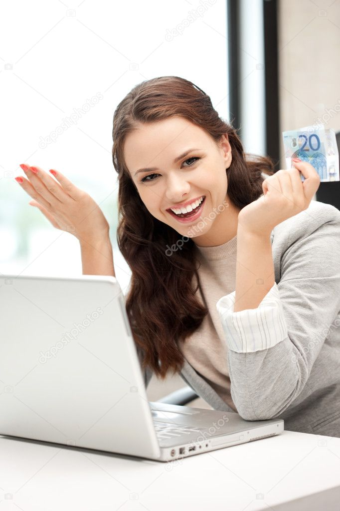 Picture of happy woman with laptop computer and euro cash money — Foto de Stock   #7267553