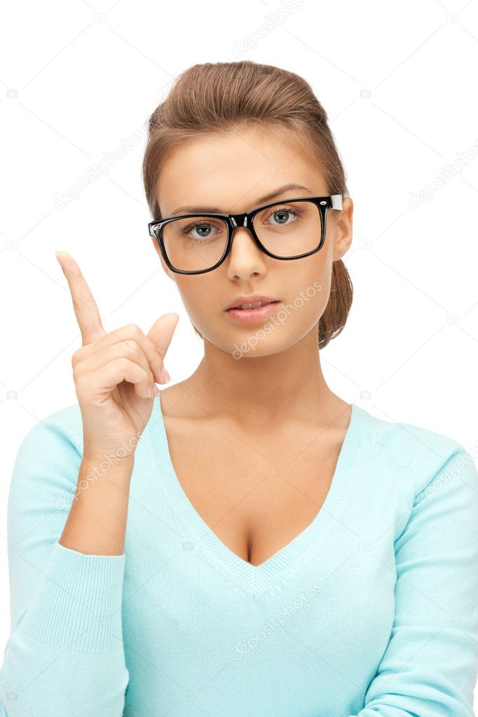 Picture of attractive young woman with her finger up — Stock Photo #7267583