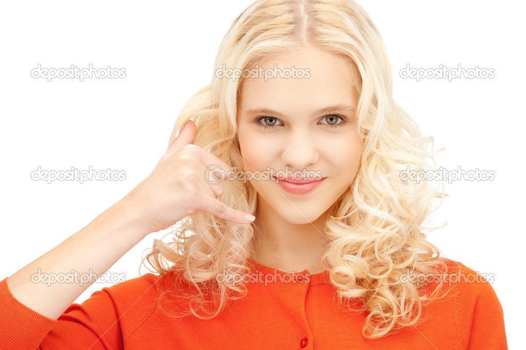 Picture of beautiful woman making a call me gesture — Stock Photo #7267768