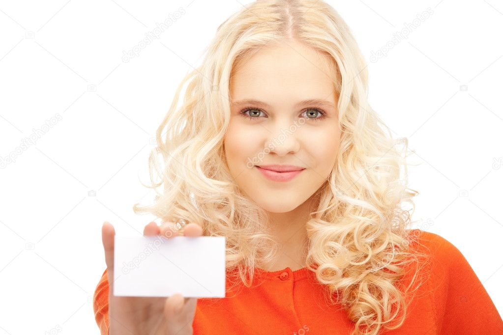 Bright picture of confident woman with business card  Stock Photo #7267802