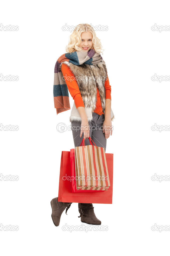 Picture of lovely woman with shopping bags — Stock Photo #7267857