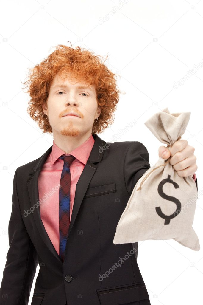 Picture of man with dollar signed bag — Stock Photo #7279851