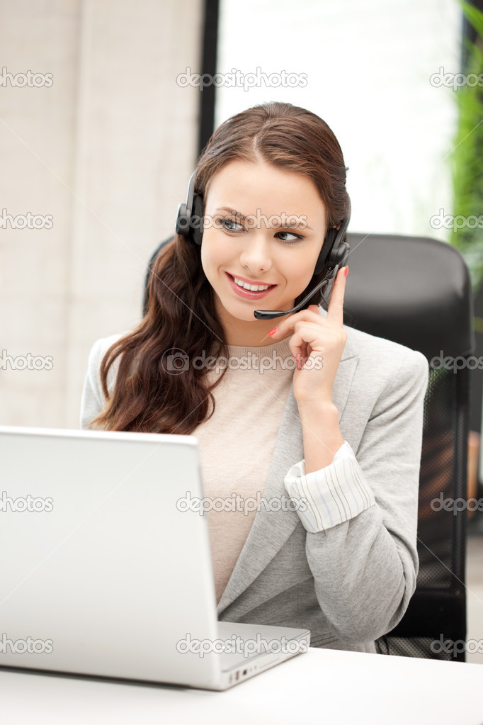 Picture of helpline operator with laptop computer — Stock Photo #7279886