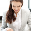 Happy woman with tablet pc computer — Stock Photo