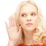 Woman listening gossip — Stock Photo