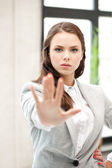 Woman making stop gesture — Stock Photo