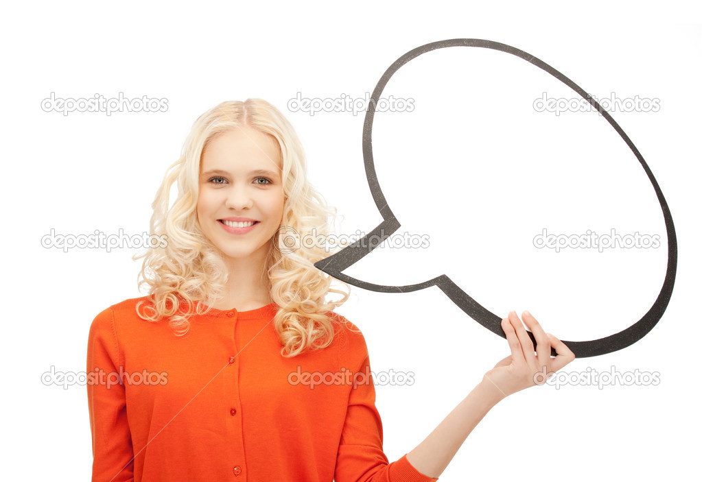 Bright picture of smiling businesswoman with blank text bubble  Stock Photo #7403494