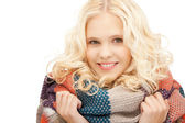 Beautiful woman in muffler — Stock Photo