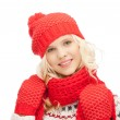 Beautiful woman in hat, muffler and mittens — Stock Photo #7468723