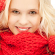 Beautiful woman in mittens — Stock Photo #7468769