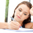 Calm woman with big notepad — Stock Photo #7495627
