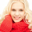 Beautiful woman in mittens — Stock Photo