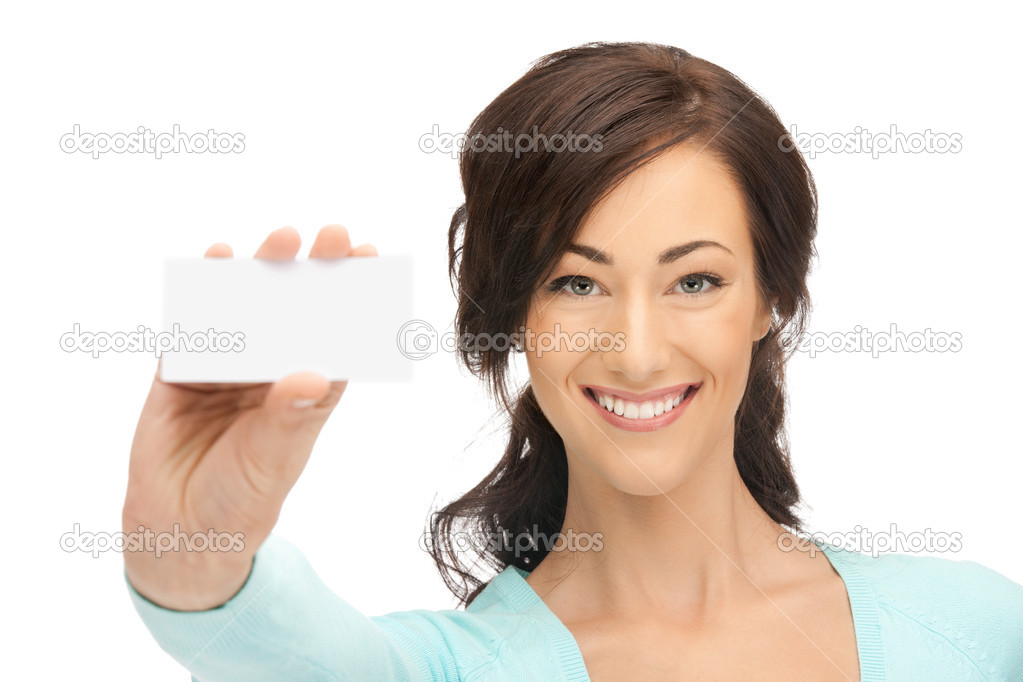 Bright picture of confident woman with business card — Stock Photo #7505121